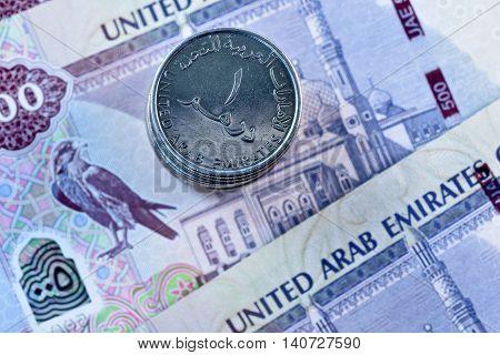 Close up Dirhams currency, United Arab Emirates
