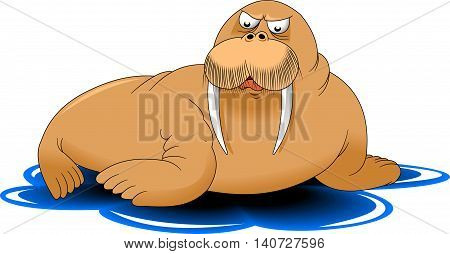 big walrus mustache is on the ice vector and illustrator