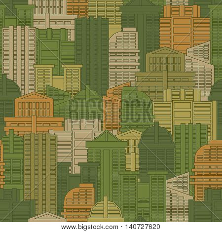 Military Texture Of Buildings. Soldier Urban Green Protective Ornament. City Haki Background. Houses