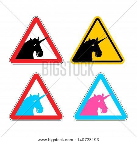 Warning Sign Of Attention Unicorn. Dangers Of Yellow Sign With Magic Animal Horn. Lgbt Character In