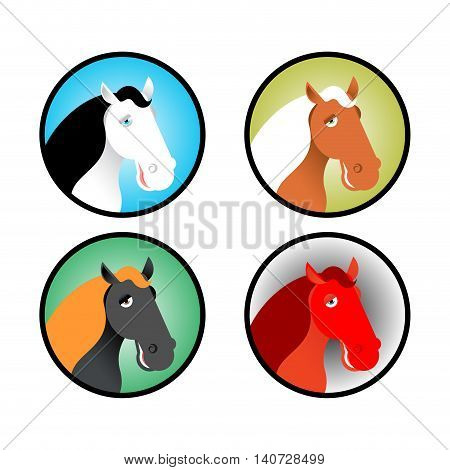 Horse Icons Set. Head Of Animal With Multi-colored Mane. Different Breeds Of Horses