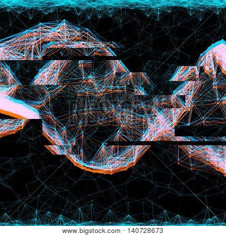 creative anaglyph glitch effect for images. illustration