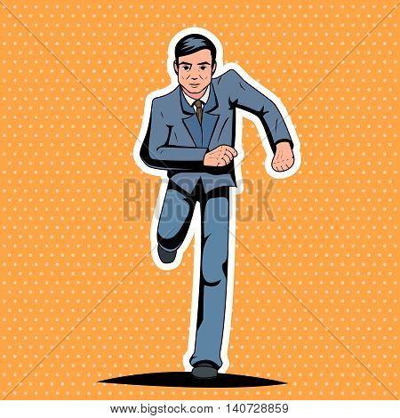 Pop Art Running Hurry Meeting Businessman Character Icon Stylish Background Retro Vintage Cartoon Poster Design Vector Illustration