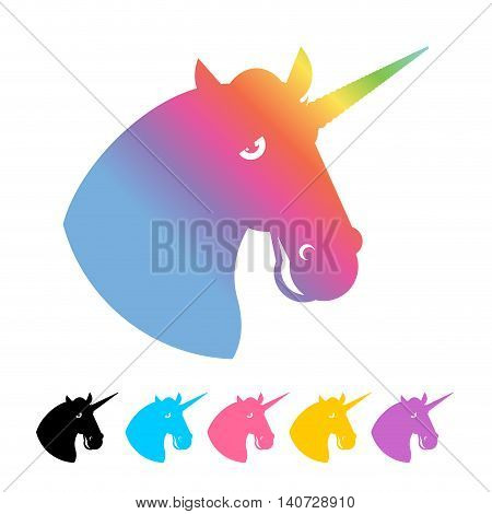 Unicorn Icon Flat Style. Magical Beast With Horn In His Forehead. Fabulous Animal Symbol Of Lgbt