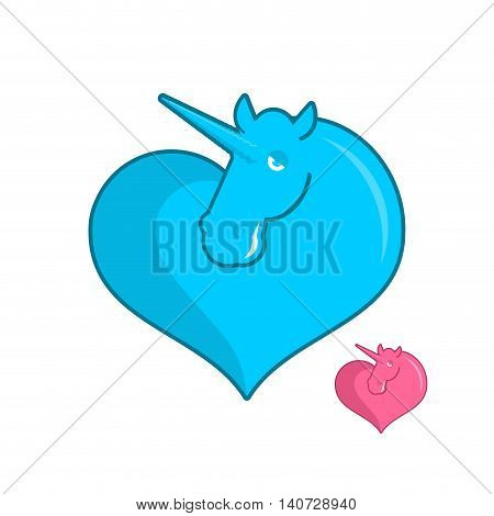 Unicorn Heart Logo. Lgbt Symbol Community. Sign Of Love Magic Animals. Heart And Magical Beast