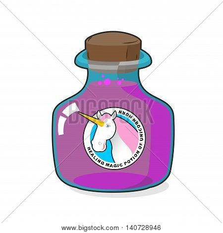 Magical Potion From Horn Of Unicorn. Magic Drink. Fantastic Very Rare Drink. Alchemy Jar Witchcraft