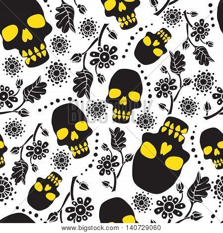 Black and white seamless pattern with flowers and skulls. White background. Stock vector illustration.
