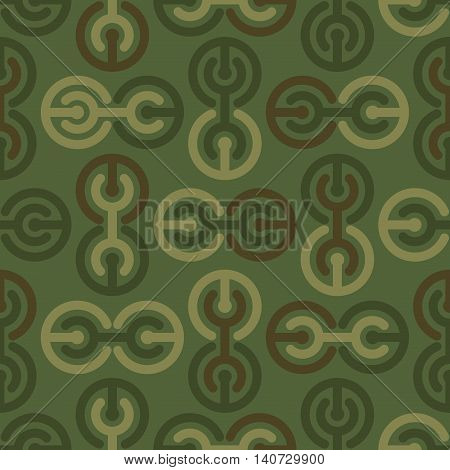 Military Texture. Soldier Camouflage Ornament. Khaki Green Background. Geometric Army Seamless Patte
