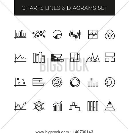 Business line vector charts, graphs and diagrams set. Graph for business, diagram and chart statistic, icon chart graphic illustration