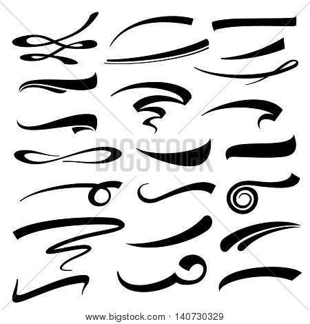 Hand lettering vector underlines set. Underline typography marker or pen strokes