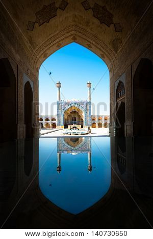 Imam Mosque with reflection in Isfahan. Iran.