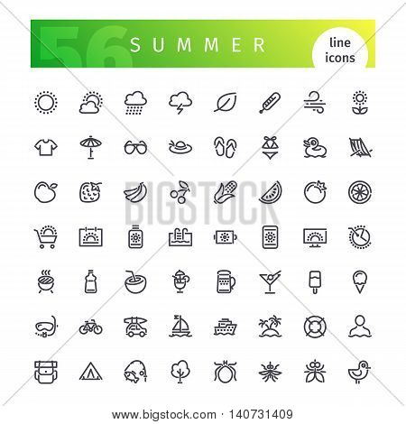 Set of 56 summer line icons suitable for gui, web, infographics and apps. Isolated on white background. Clipping paths included.