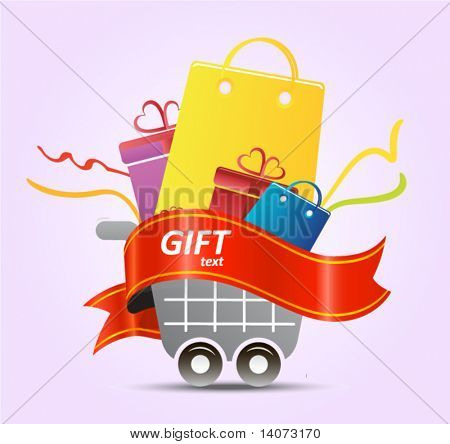 shopping cart with ribbons and bags