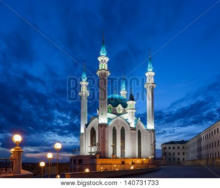 View of the mosque Qol Sharif in Kazan at night Russia