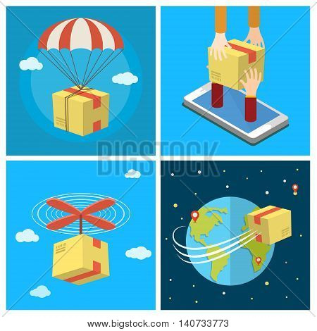Business set. Concept of delivery service. Delivery by air. Mobile delivery. Flat design colored vector illustration.