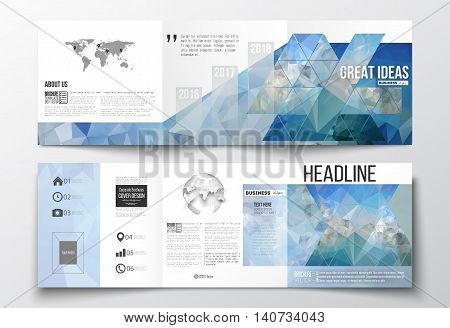 Set of tri-fold brochures, square design templates with element of world map and globe. Abstract blue polygonal background, colorful backdrop, modern stylish vector texture.