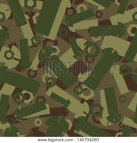 Army Texture Of Nuts And Bolts. Soldier Green Camouflage Ornament. Mechanic Khaki Background. Milita