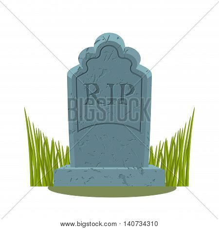 Tomb On White Background. Grave Isolated. Old Gravestone With Cracks. Ancient Rip. Granite Plate Wit