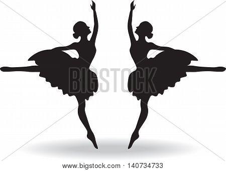 Set of Ballet dancers silhouette Vector illustration