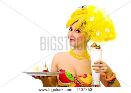 Banana Lady With Tray Of Snacks And Creamy Cocktail