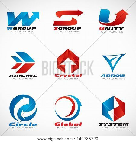 Blue and red Arrow logo vector set design