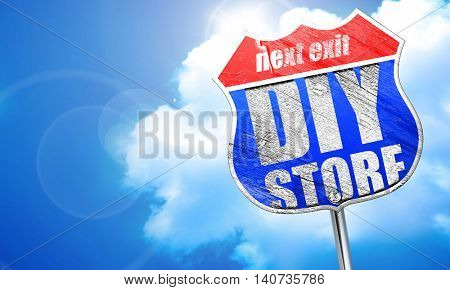 diy store, 3D rendering, blue street sign