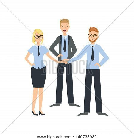 Managers Shaking Hands Teamwork Simple Cartoon Style Illustration. Office Employees Working Together Cute Flat Vector Drawing.
