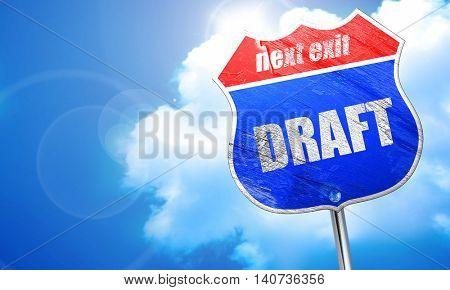 draft, 3D rendering, blue street sign