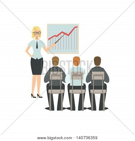 Manager Sharng The Experience Teamwork Simple Cartoon Style Illustration. Office Employees Working Together Cute Flat Vector Drawing.