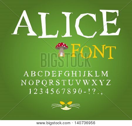 Alice In Wonderland Font. Fairy Abc. Mad Alphabet  Cheshire Cat. Set Of Letters. Magical Beast With