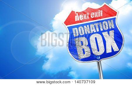 donation box, 3D rendering, blue street sign