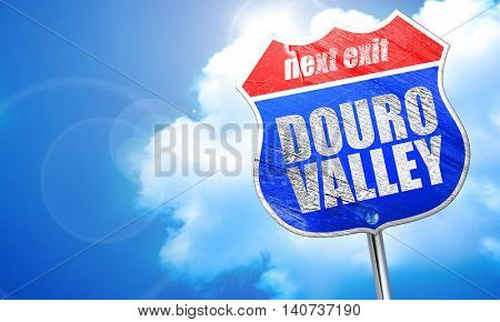 douro valley, 3D rendering, blue street sign