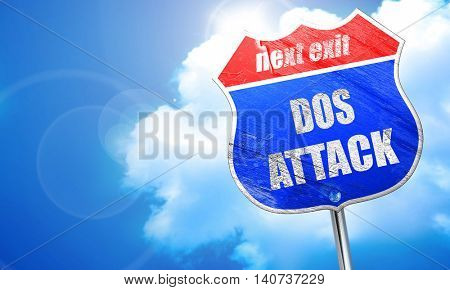 DOS warfare background, 3D rendering, blue street sign