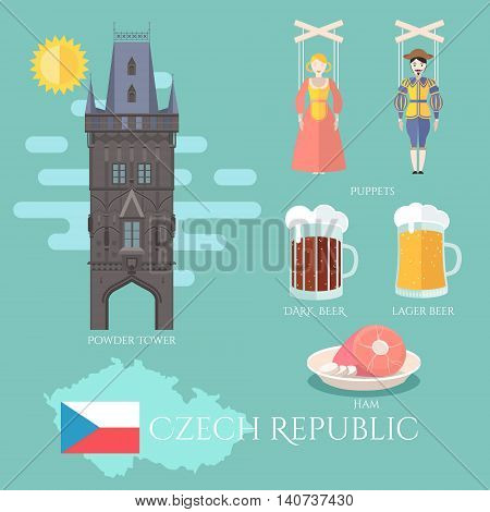 Czech Republic. Set of traditional attractions souvenirs and cuisine. Vector illustration with flag of the country and it borders also puppets ham dark and lager beer powder tower. EPS 10