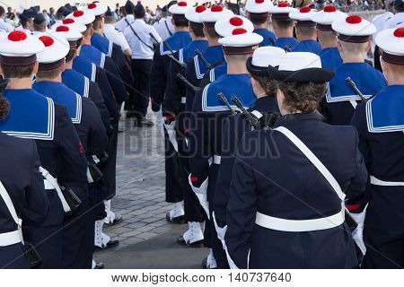 Marine Corps Military Parade, In A Uniform With Hat