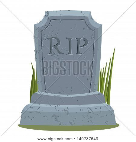 Old Gravestone With Cracks. Tomb Isolated. Grave On White Background. Ancient Rip. Granite Plate Wit
