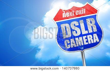 DSLR camera, 3D rendering, blue street sign
