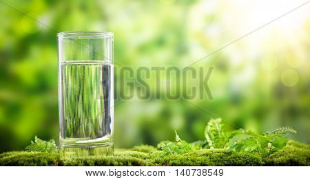 Glass of water on green nature background