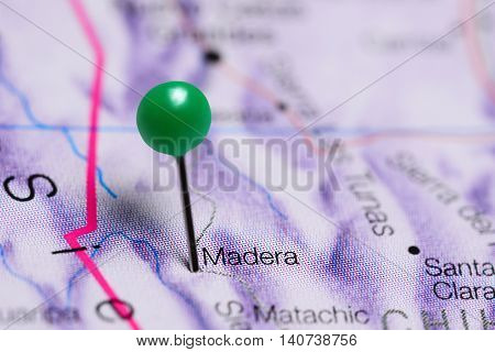 Madera pinned on a map of Mexico