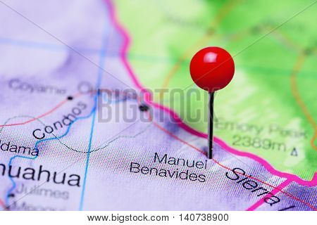 Manuel Benavides pinned on a map of Mexico