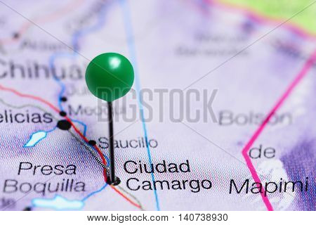 Ciudad Camargo pinned on a map of Mexico