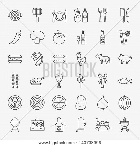 Grill Menu Line Icons Set. Vector Collection of Modern Thin Outline BBQ Picnic Symbols.