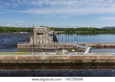 A lock and dam on the Mississippi River.