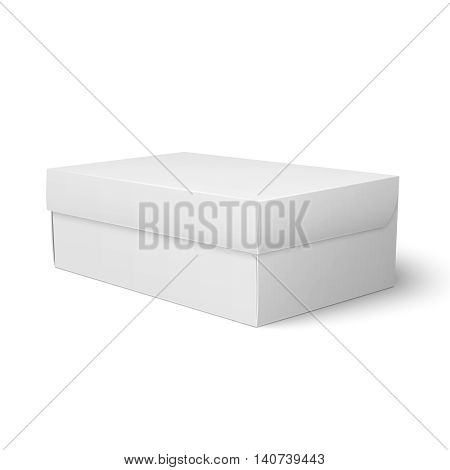 Blank paper or cardboard shoebox template with closed lid on white background Packaging collection. Vector illustration.