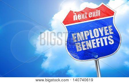 employee benefits, 3D rendering, blue street sign