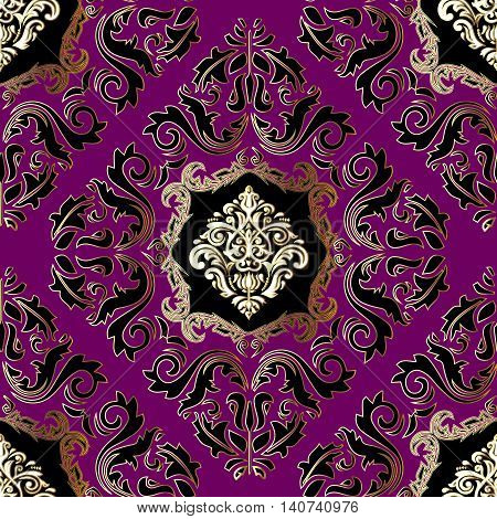 Purple luxury damask vector seamless pattern with black and gold volumetric 3d  ornament.Vintage decorative elements for design in Eastern style.Modern stylish ornate decor with shadows and highlights