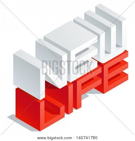 Vector greeting card with 3D volume letters. Slim three dimensional isometric text New life
