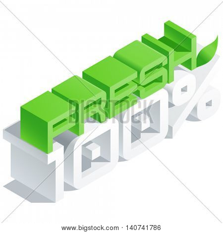 Vector logo with 3D volume letters. Slim three dimensional isometric text Fresh 100 percent