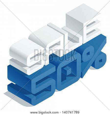 Vector promotion banner with 3D volume letters. Slim three dimensional isometric text Sale 50 percent