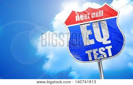 eq test, 3D rendering, blue street sign